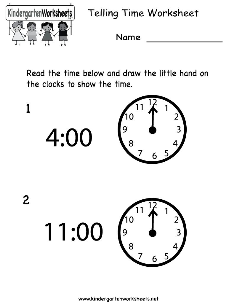 Telling Time Worksheet - Free Kindergarten Math Worksheet For Kids | Free Printable Time Worksheets For Kindergarten