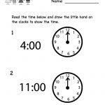 Telling Time Worksheet   Free Kindergarten Math Worksheet For Kids | Kindergarten Clock Worksheet Printables