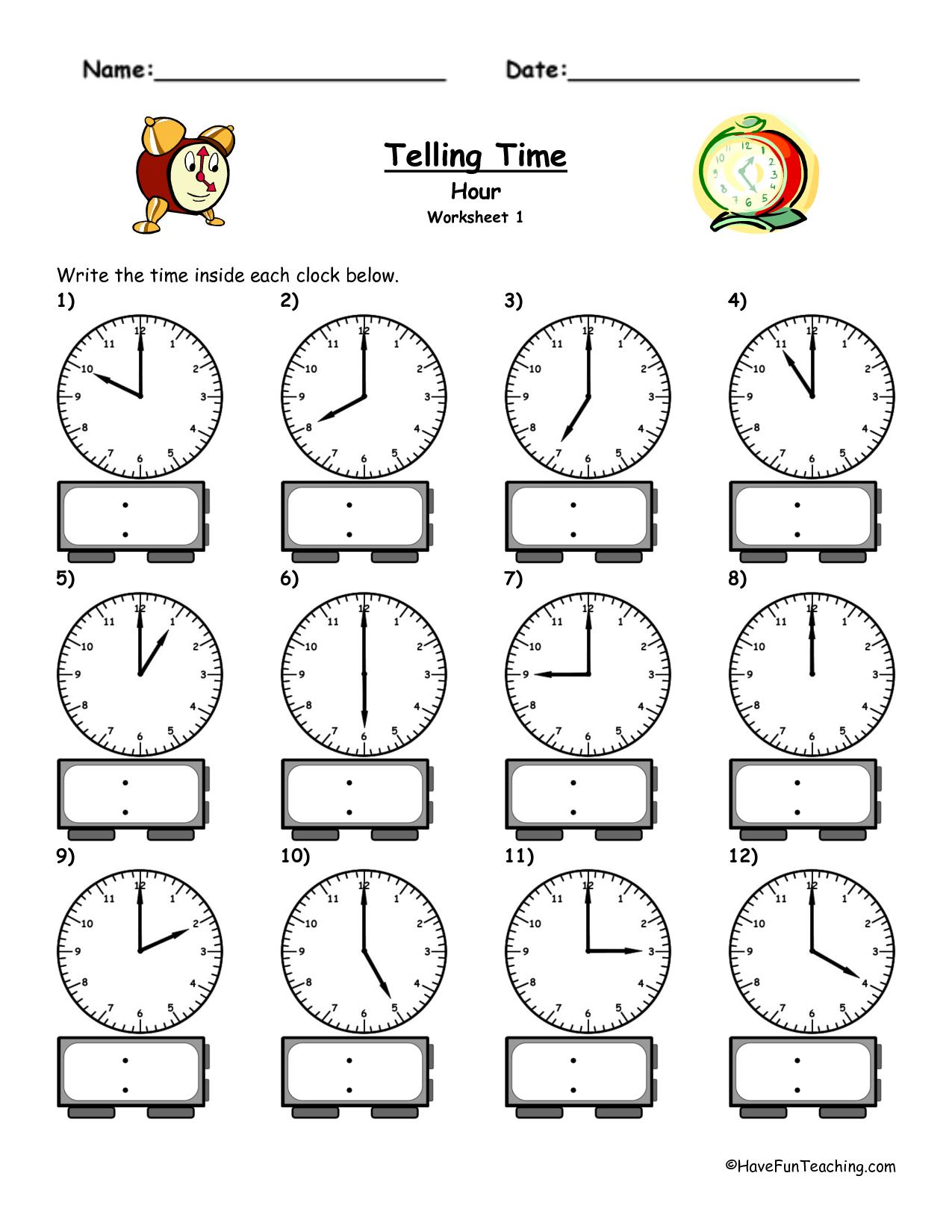 Telling Time Worksheets - Google Search | L'heure | Pinterest - Free | Free Printable Time Worksheets For Kindergarten