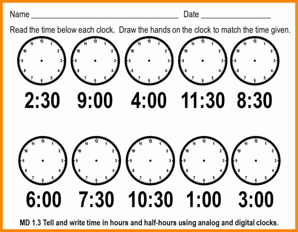 Telling Time Worksheets Printable – Worksheet Template - Free | Telling Time Printable Worksheets First Grade