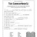Ten Commandments Worksheet For Kids | Junior Church | Bible Lessons | Free Printable 5 W's Worksheets
