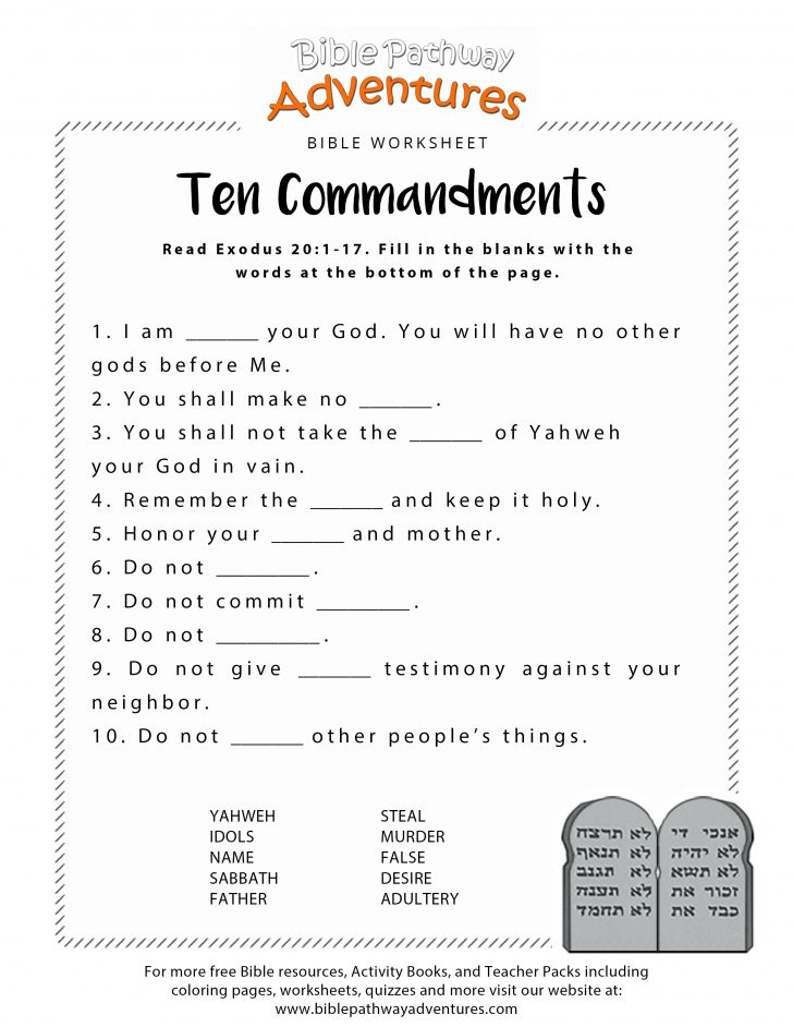 Free Printable Children's Bible Worksheets