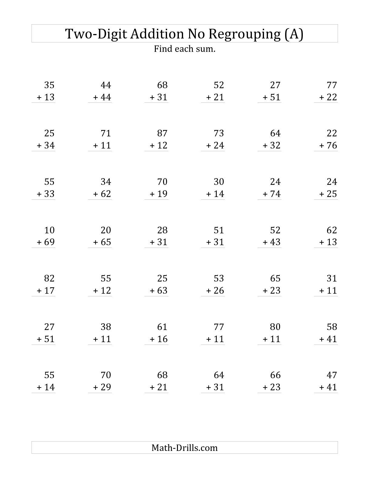 The 2-Digit Addition With No Regrouping (A) Math Worksheet From The   Printable 2 Digit Addition Worksheets