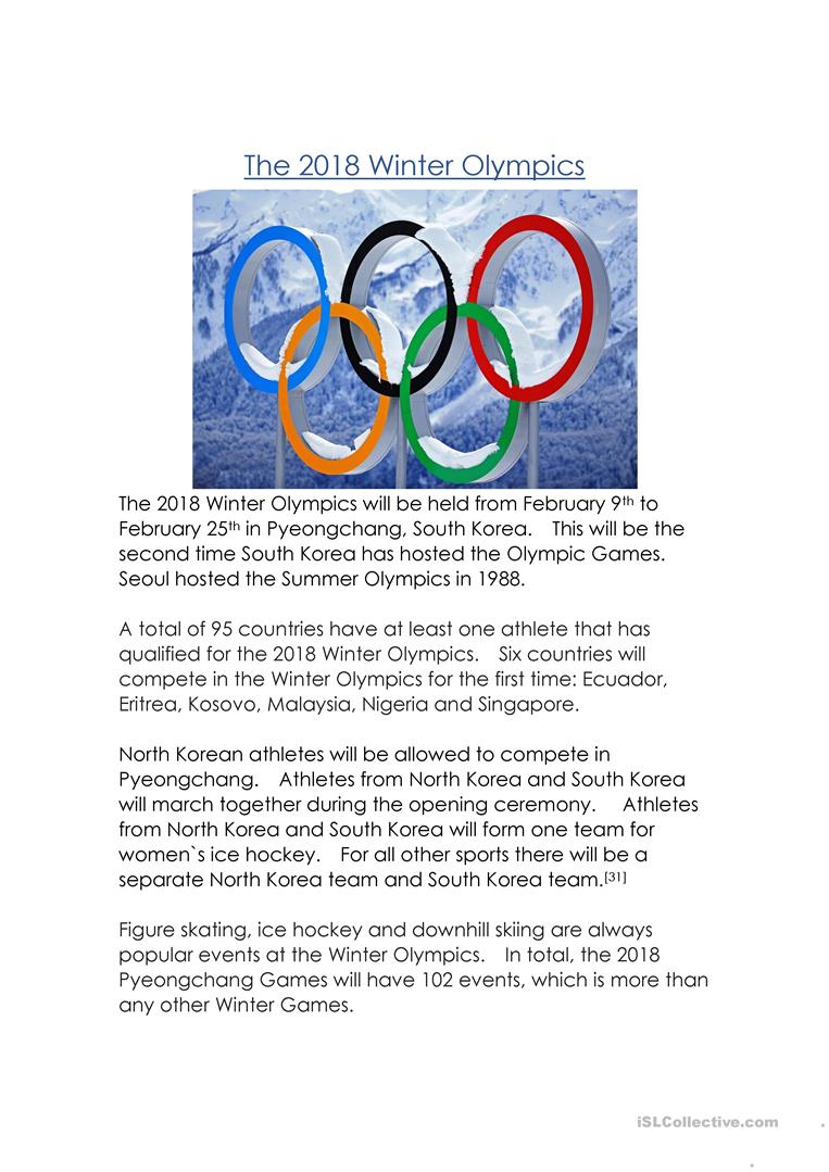 The 2018 Winter Olympics Worksheet - Free Esl Printable Worksheets | Olympic Printable Worksheets