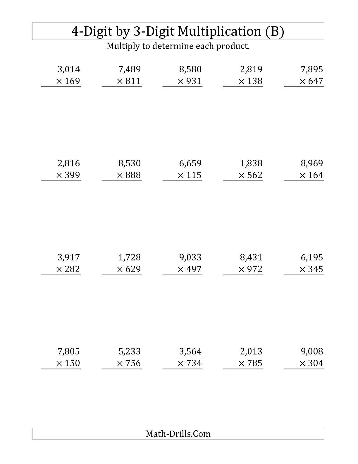 The 4-Digit3-Digit Multiplication (B) Long Multiplication | 3 Digit Multiplication Worksheets Printable