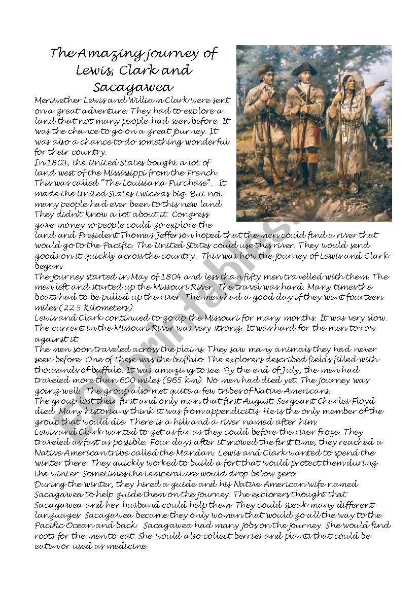 The Amazing Journey Of Lewis, Clark And Sacagawea - Esl Worksheet | Lewis And Clark Printable Worksheets