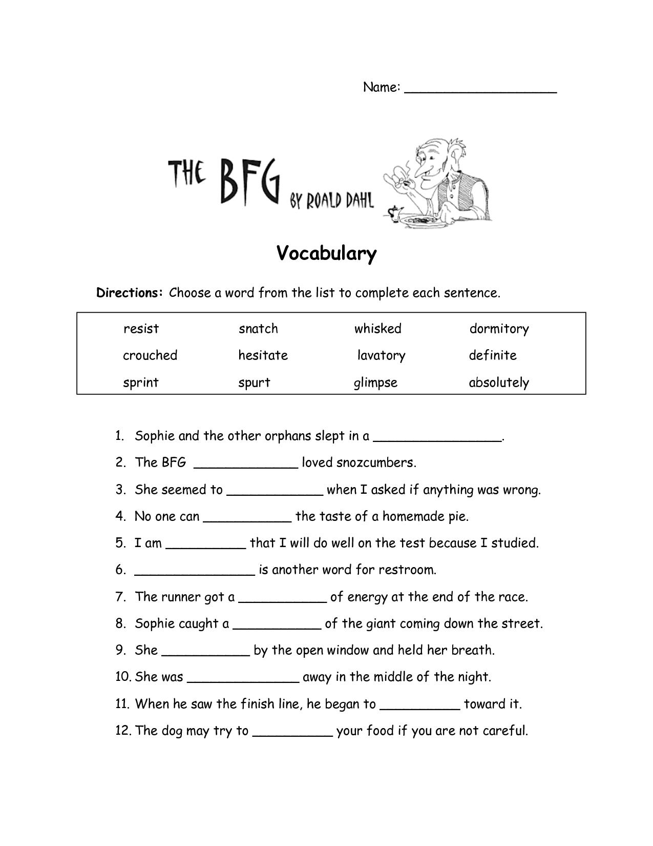 The Bfg Worksheets | The Bfg Vocabulary Worksheet | Education Items | Grade 3 Vocabulary Worksheets Printable