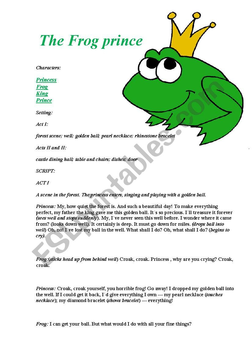 The Frog Prince, Play Script - Esl Worksheetjooblack | The Frog Prince Worksheets Printable