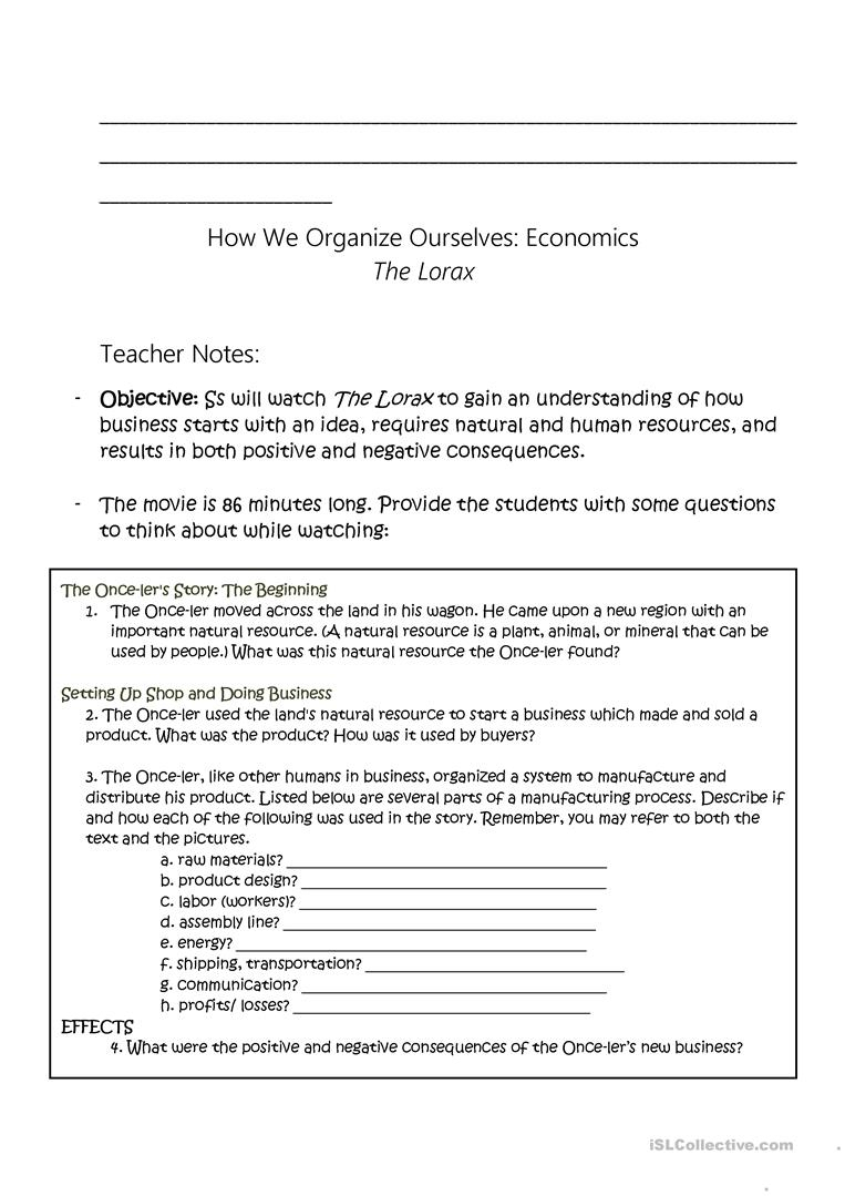 The Lorax - Economic Study Worksheet - Free Esl Printable Worksheets | Free Printable Economics Worksheets