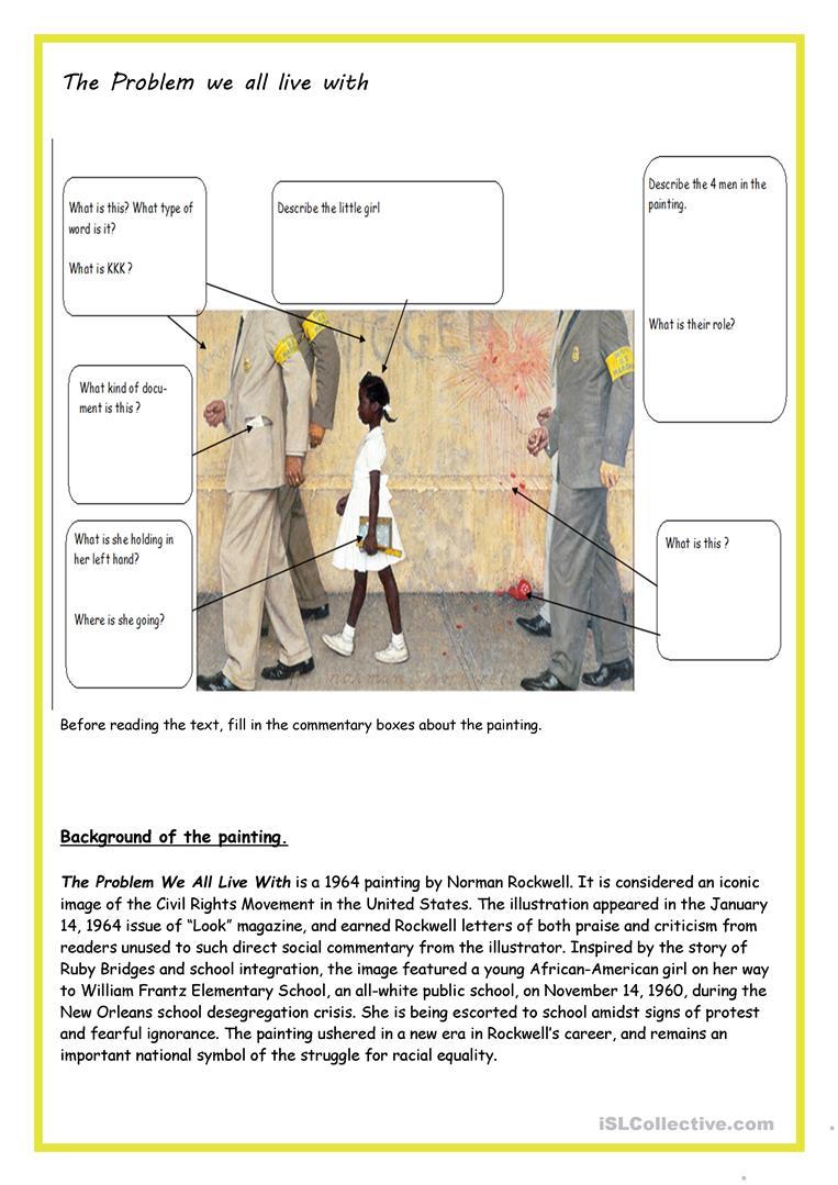 The Problem We All Live With - Ruby Bridges Worksheet - Free Esl | Ruby Bridges Printable Worksheets