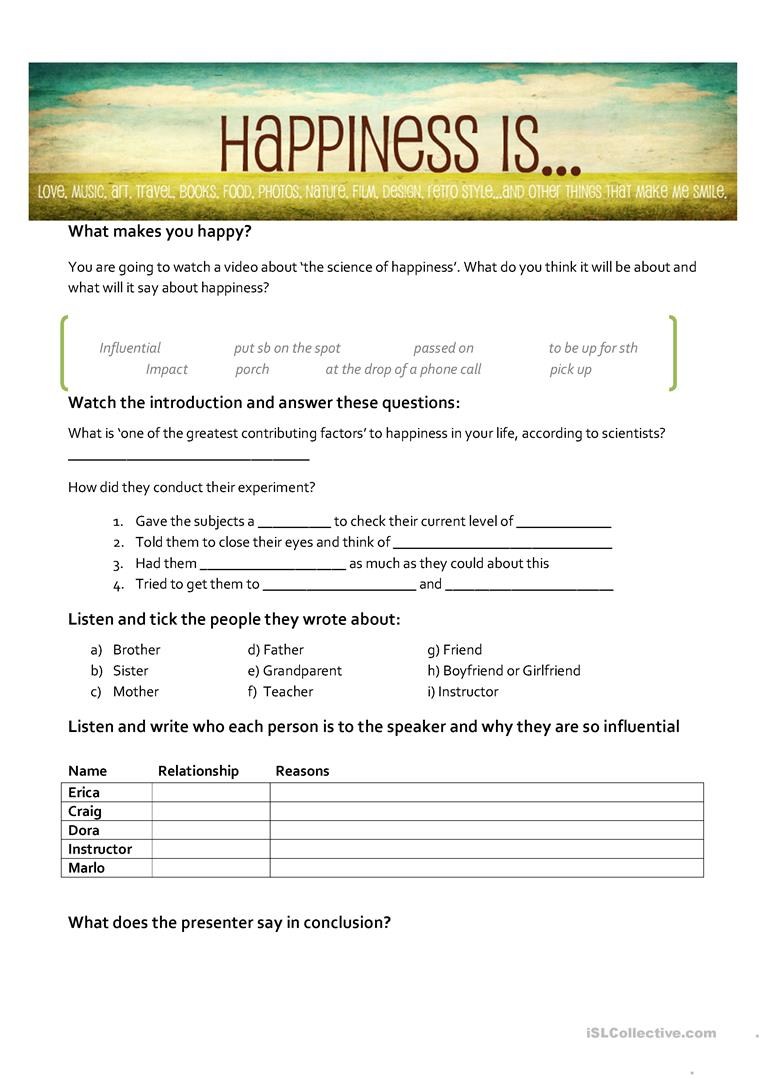 The Science Of Happiness Worksheet - Free Esl Printable Worksheets | Happiness Printable Worksheets