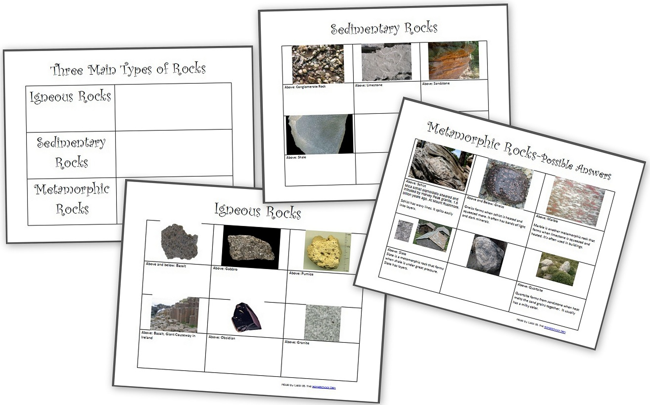 The Three Types Of Rocks- Our Activities And A Free Worksheet Packet   Rock Cycle Worksheets Free Printable