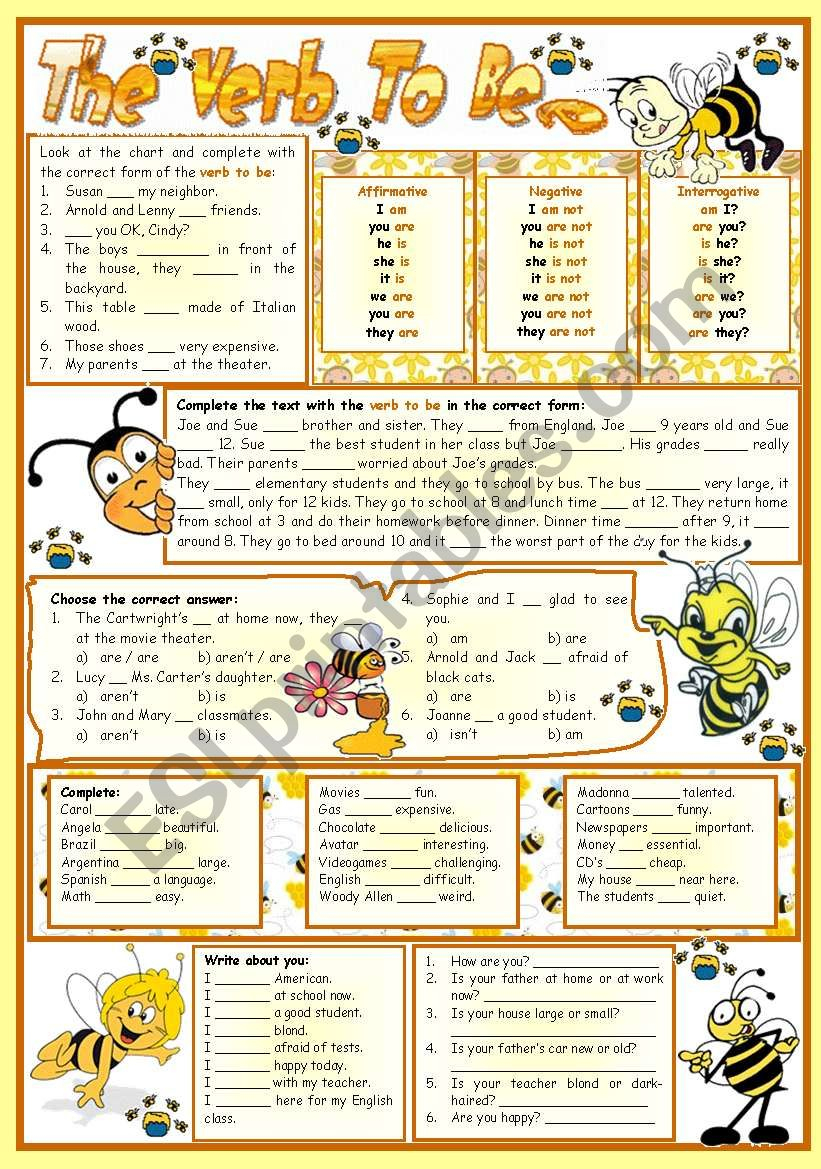 The Verb To Be-E – Reading • Grammar • Chart • Exercises • 6 Tasks | To Be Worksheets Printable
