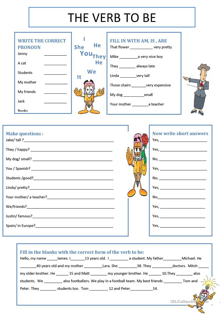 The Verb To Be Worksheet - Free Esl Printable Worksheets Made | To Be Worksheets Printable