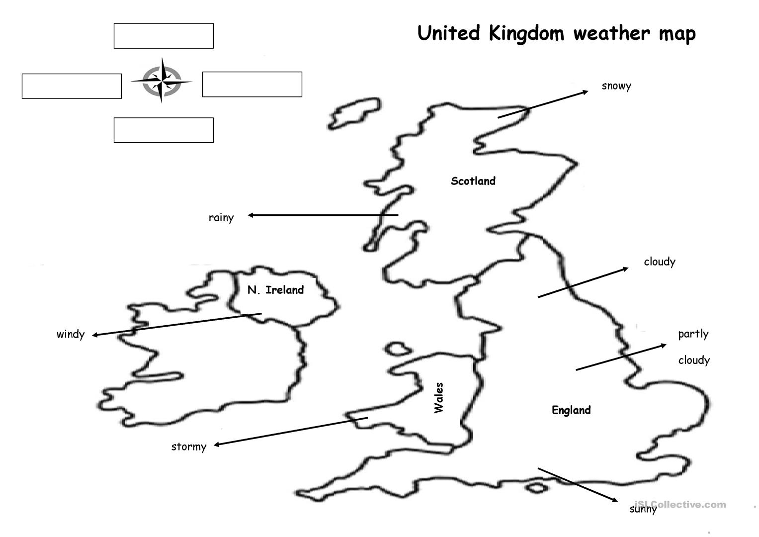 The Weather Map Worksheet - Free Esl Printable Worksheets Made | Free Printable Weather Map Worksheets