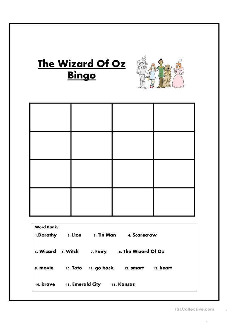 The Wizard Of Oz Bingo Worksheet - Free Esl Printable Worksheets | The Wizard Of Oz Printable Worksheets