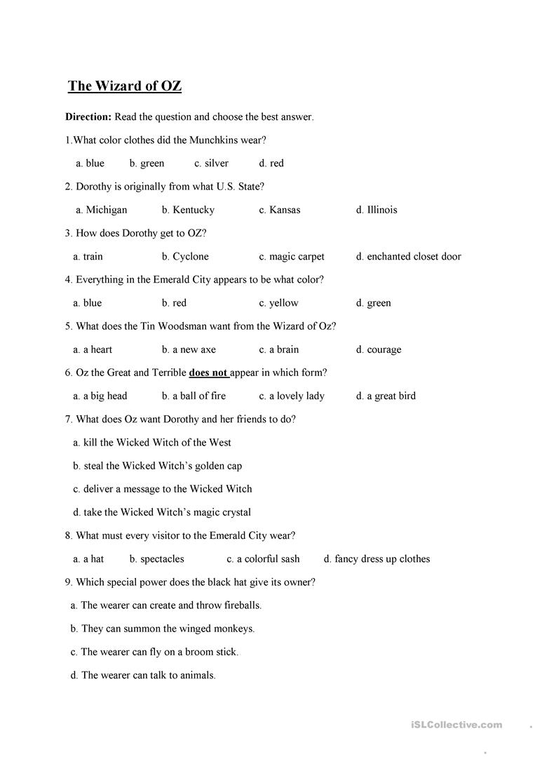 The Wizard Of Oz Worksheet - Free Esl Printable Worksheets Made | The Wizard Of Oz Printable Worksheets