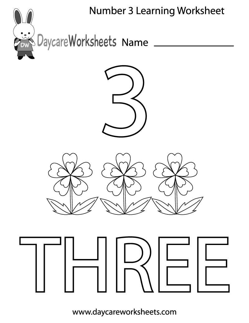 This Free Printable Worksheet Helps Preschoolers Learn The Number | Free Printable Number 3 Worksheets