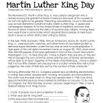 This Free Worksheet About Martin Luther King Day Covers The Basic | Free Printable Martin Luther King Jr Worksheets