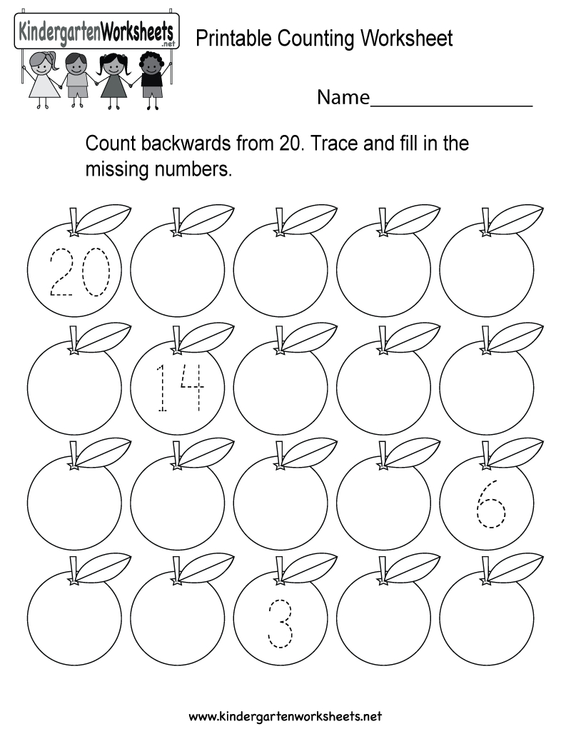 This Is A Backward Counting Worksheet For Kindergarteners. Kids Can | Counting Printable Worksheets For Kindergarten