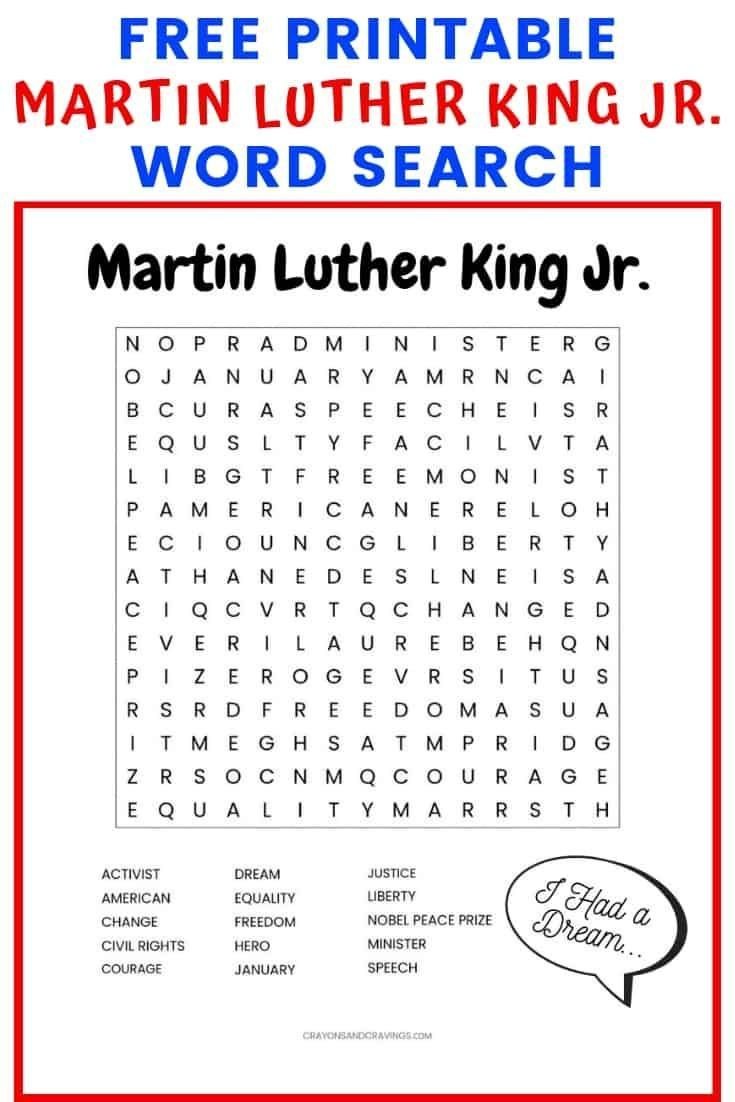 This Martin Luther King Jr. Word Search Printable Worksheet With 15 | Martin Luther King Free Printables Worksheets