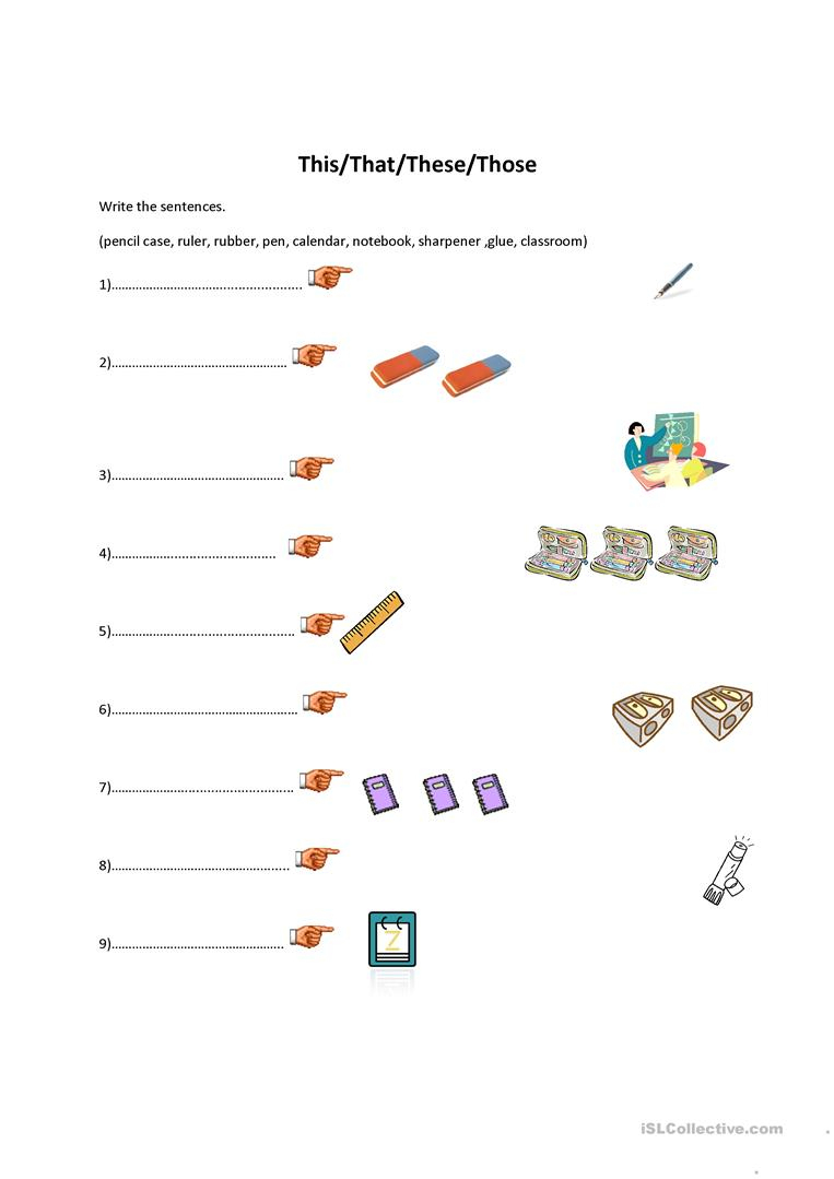 This/that/these/those-Classroom Objects Worksheet - Free Esl | This That These Those Worksheets Printable