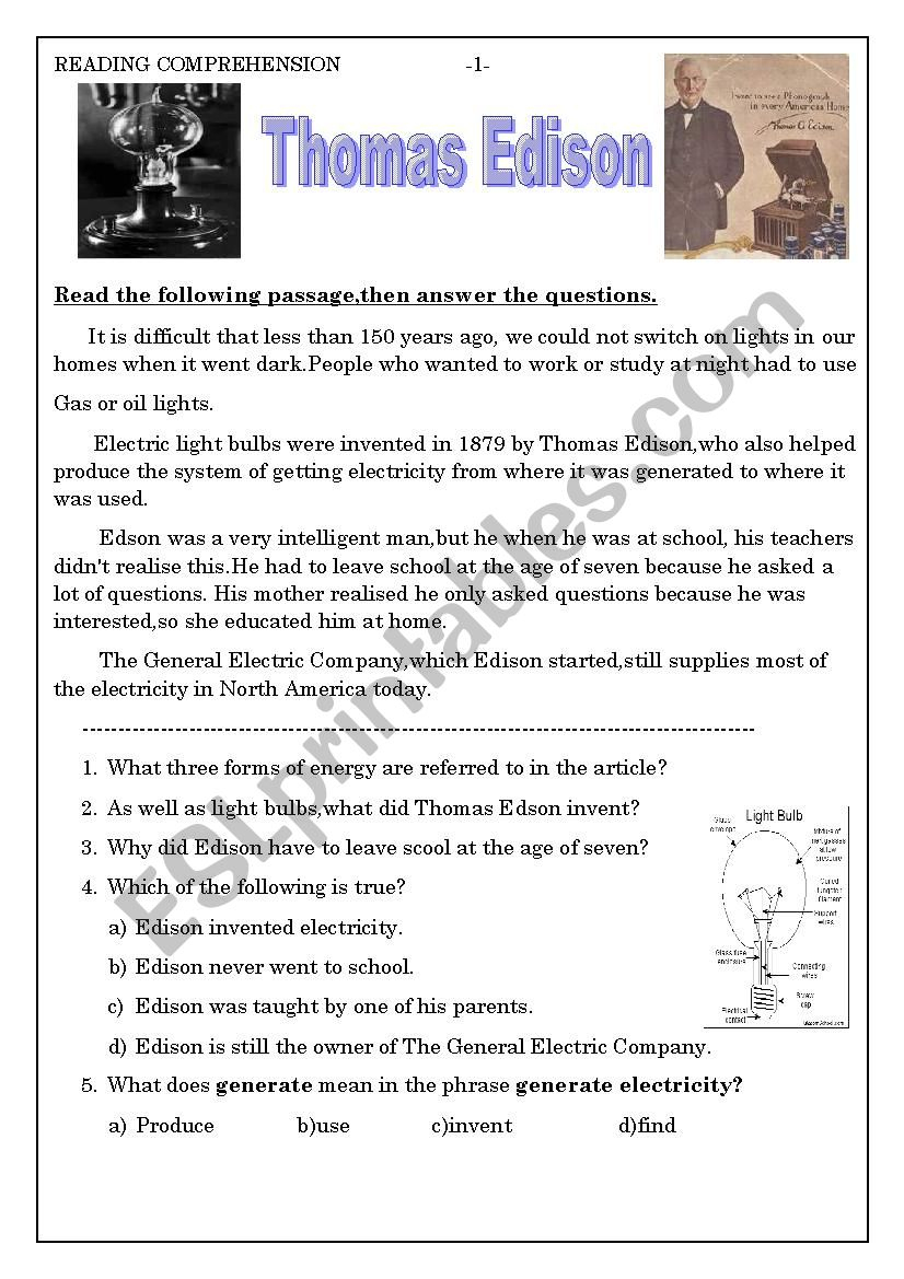 Thomas Edison - Esl Worksheetashraf Amir | Thomas Edison Printable Worksheets