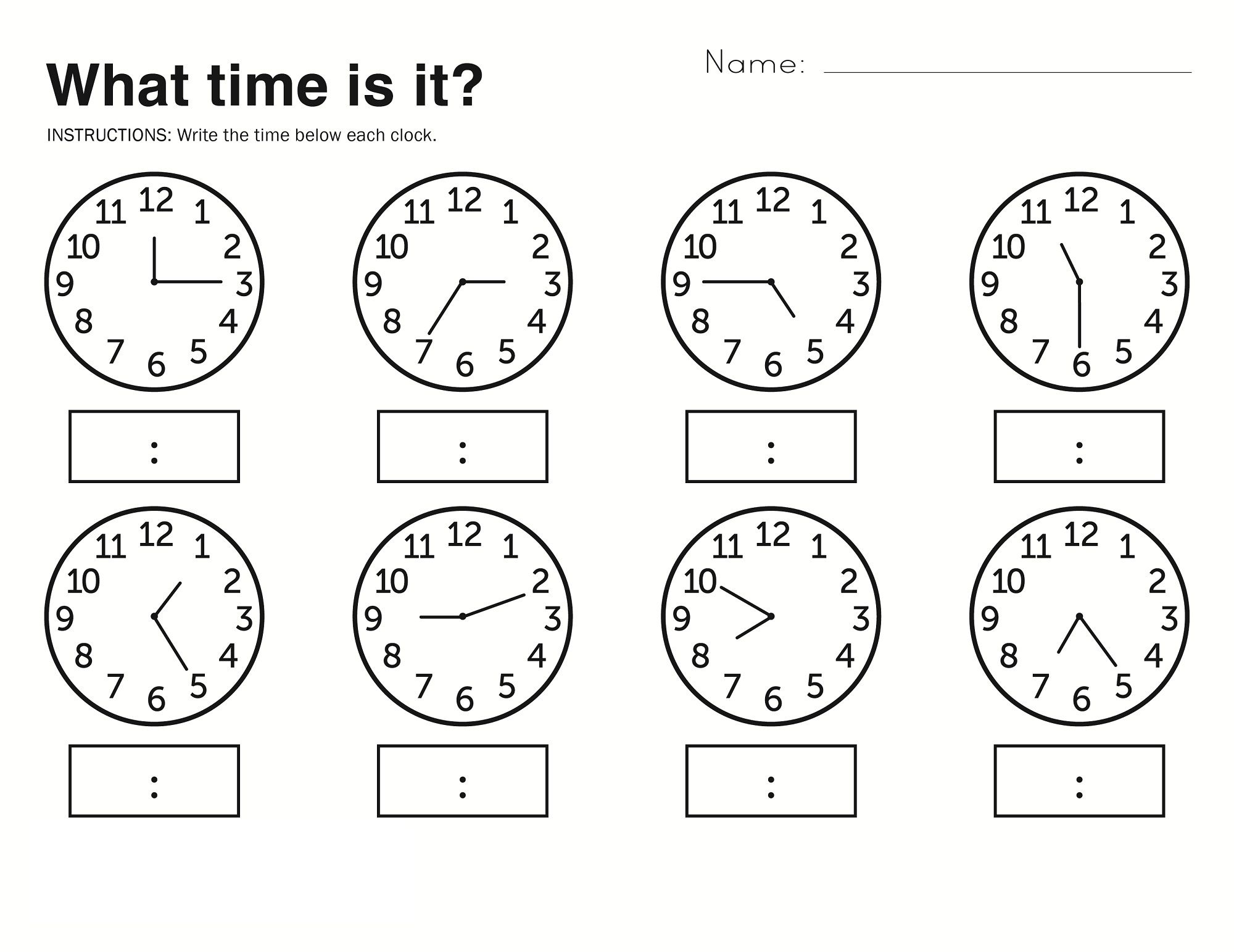 Time Elapsed Worksheets To Print | Kids Worksheets Printable | Learn To Tell The Time Printable Worksheets