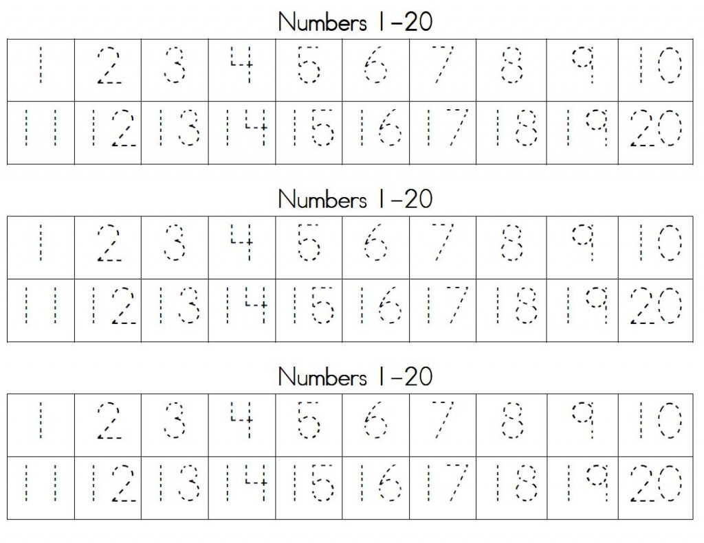 Trace Numbers 1 20   Kiddo Shelter - Free Printable Counting   Free Printable Counting Worksheets 1 20