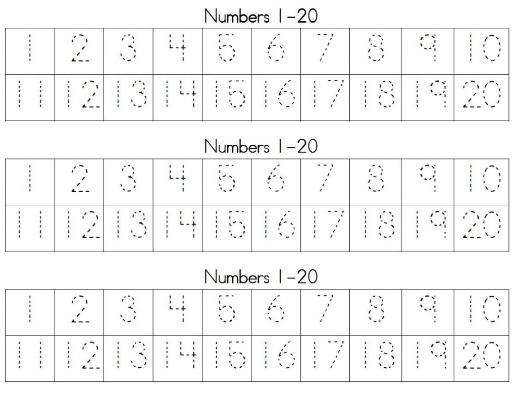 Trace Numbers 1 20 | Kiddo Shelter | Writing Numbers 1 20 Printable Worksheets