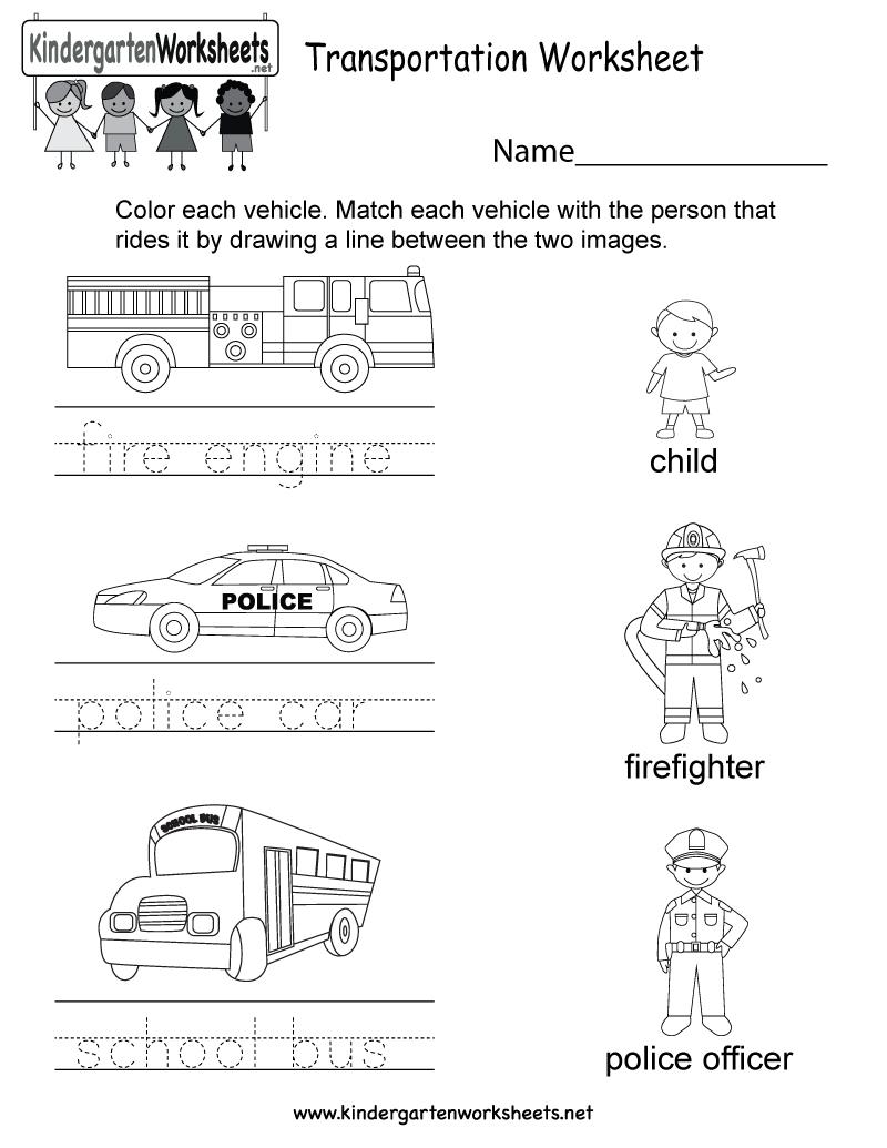 Transportation Worksheet - Free Kindergarten Learning Worksheet For | Free Printable Transportation Worksheets For Kids