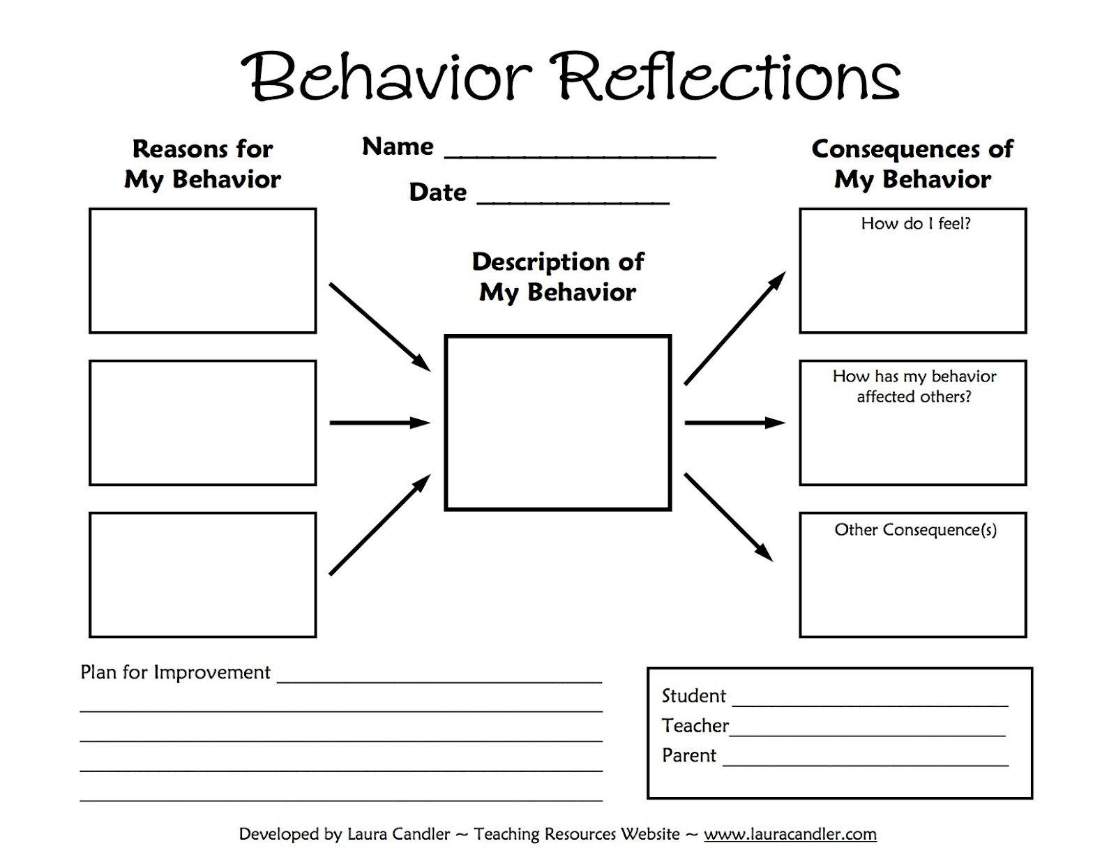 Tween Teaching: Behavior Reflections Sheet | School | Behavior | Middle School Printable Worksheets
