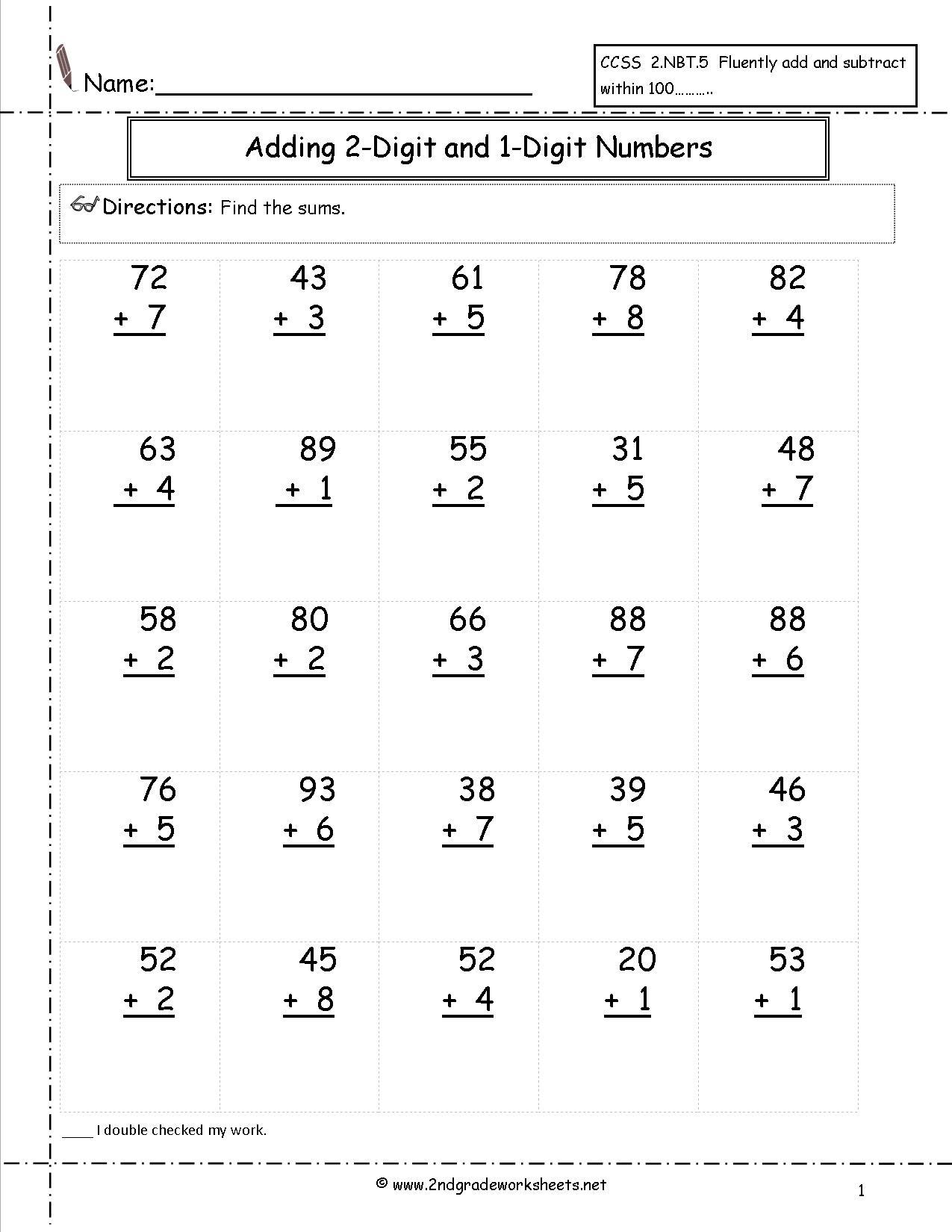 Two Digit Addition Worksheets   Printable 2 Digit Addition Worksheets