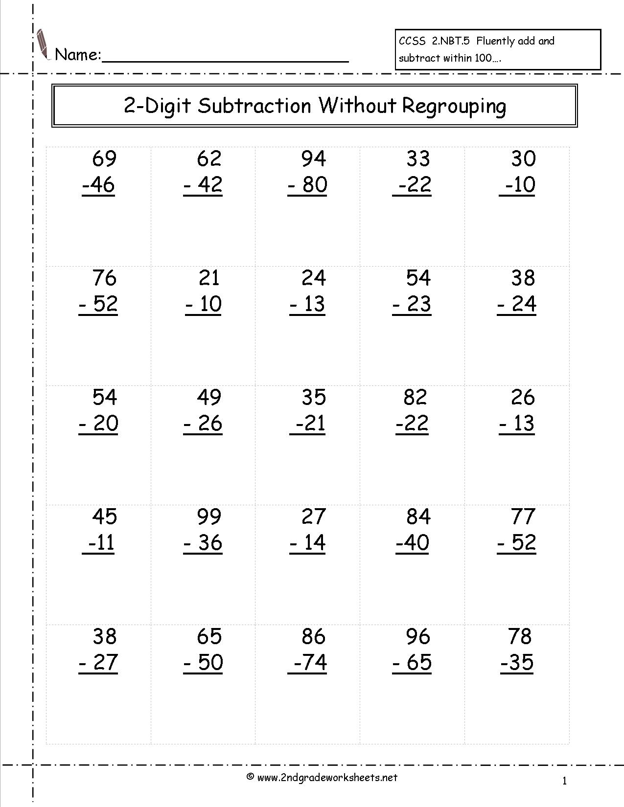 Two Digit Subtraction Worksheets | Printable Subtraction Worksheets With Regrouping
