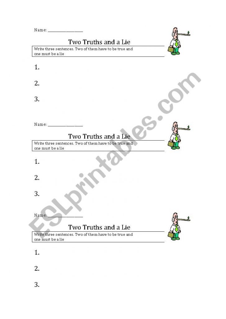 Two Truths And A Lie Worksheet Printable