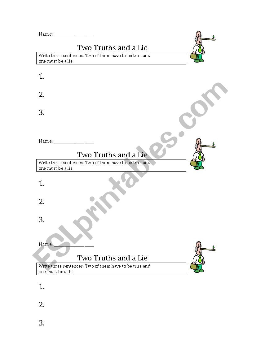Two Truths And A Lie - Esl Worksheetfutamus | Two Truths And A Lie Worksheet Printable