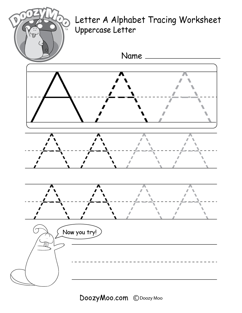 Uppercase Letter Tracing Worksheets (Free Printables) - Doozy Moo | Free Printable Abc Tracing Worksheets