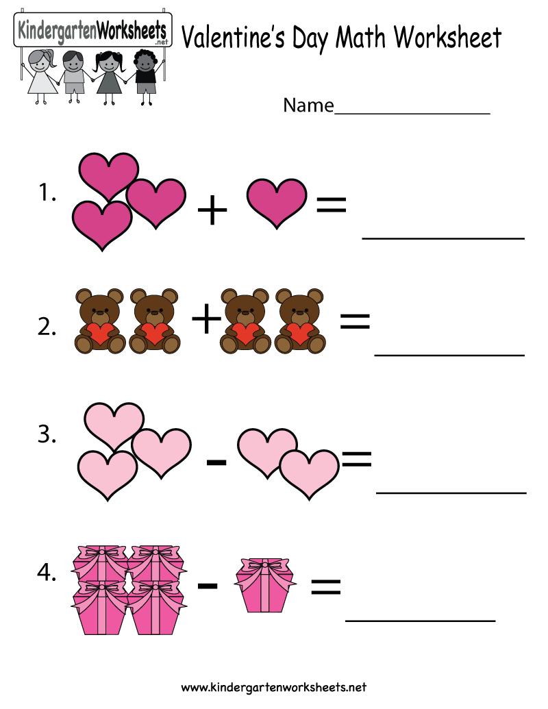 Valentine's Day Math Worksheet - Free Kindergarten Holiday Worksheet | Free Printable Preschool Valentine Worksheets