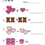 Valentine's Day Math Worksheet   Free Kindergarten Holiday Worksheet | Free Printable Valentine Math Worksheets