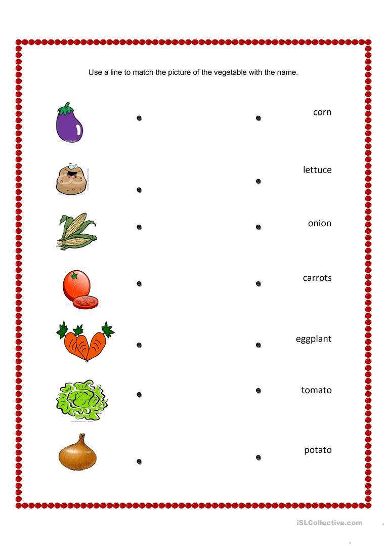 Vegetables And Fruits Match Worksheet - Free Esl Printable   Vegetables Worksheets Printables