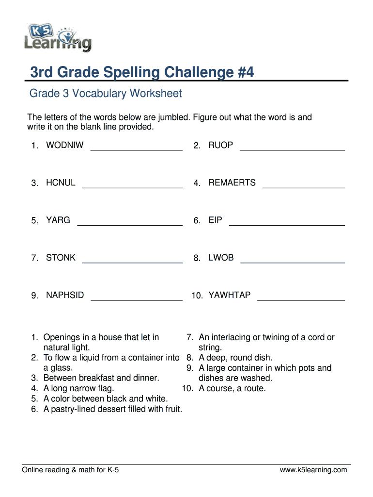 Vocabulary 3Rd Grade Write Spelling Words - Third Grade 3 Worksheet | Grade 3 Vocabulary Worksheets Printable