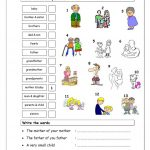 Vocabulary Matching Worksheet   Elementary 2.2 (Family) Worksheet | Family Printable Worksheets