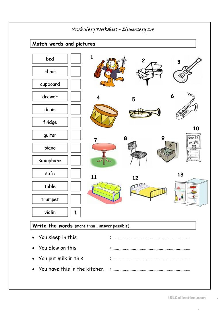 Vocabulary Matching Worksheet - Elementary 2.4 (Musical Instruments | Reading Music Worksheets Printable