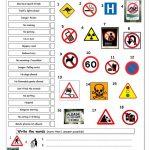 Vocabulary Matching Worksheet   Signs Worksheet   Free Esl Printable | Free Printable Traffic Signs Worksheets