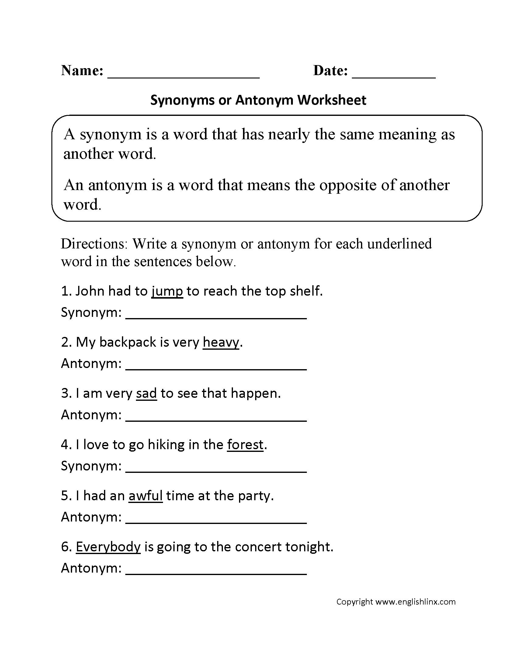 Vocabulary Worksheets | Synonym And Antonym Worksheets | Free Printable Worksheets Synonyms Antonyms And Homonyms