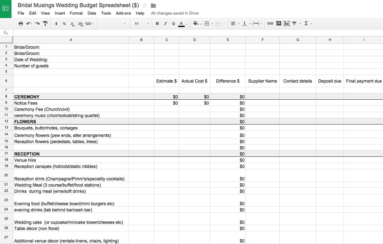 Wedding Budget Checklist - Koran.sticken.co | Wedding Budget Worksheet Printable