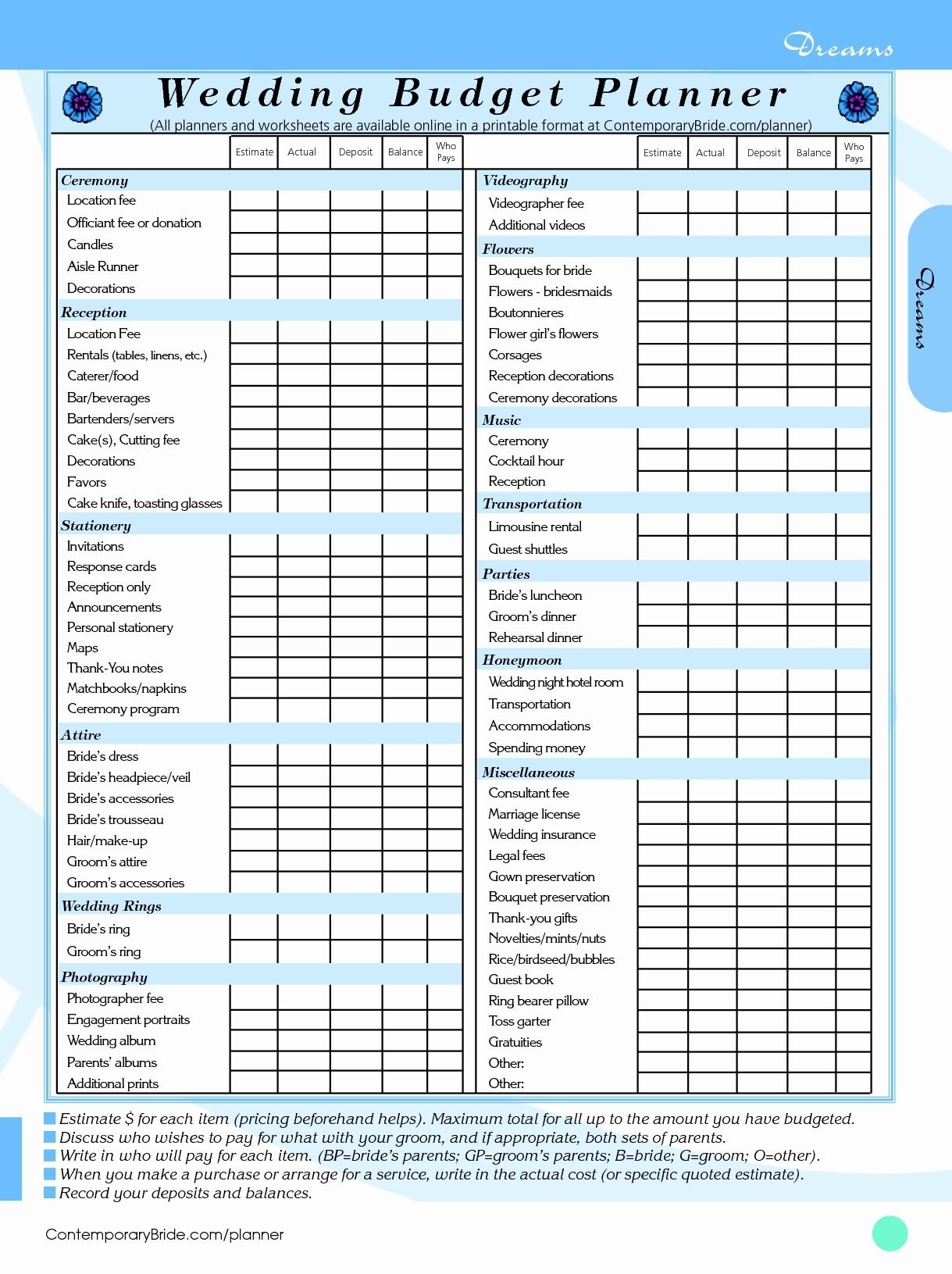 Wedding Budget Sheet Unique Wedding Bud Worksheet Printable | Wedding Budget Worksheet Printable
