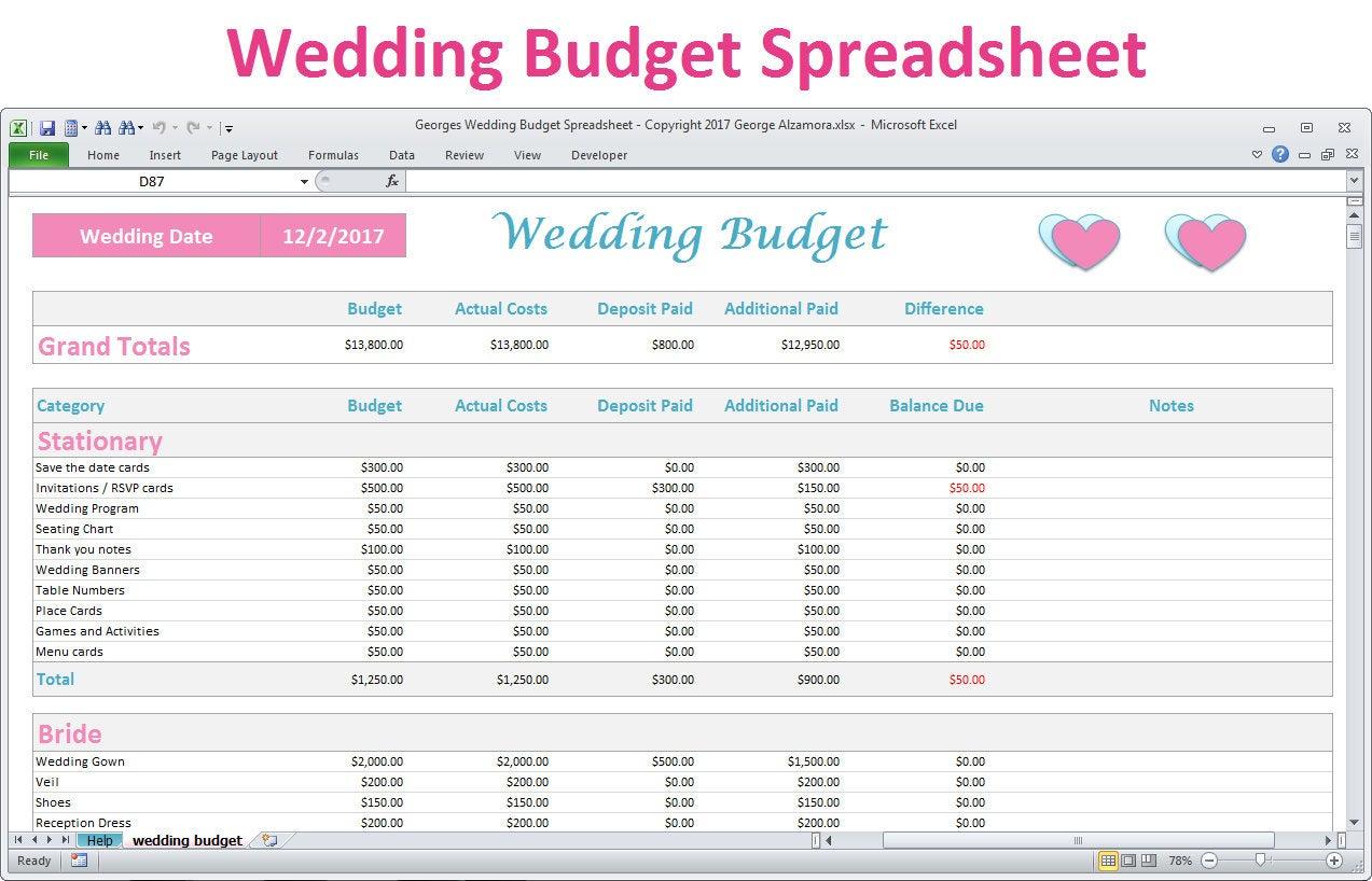 Wedding Budget Spreadsheet Planner Excel Wedding Budget | Etsy | Wedding Budget Worksheet Printable