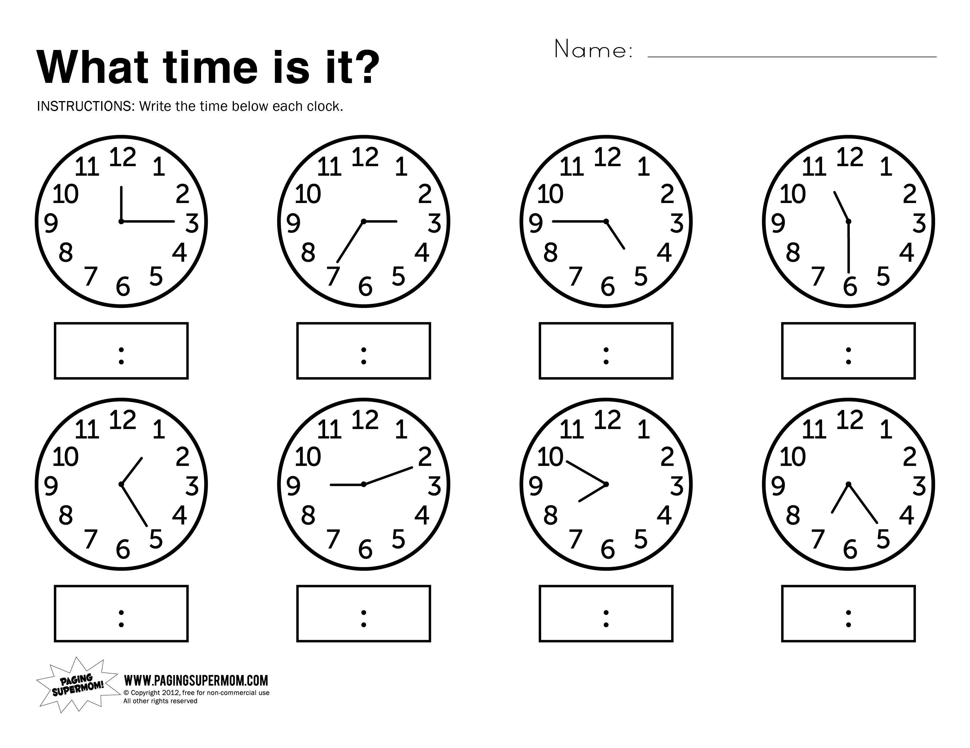 What Time Is It Printable Worksheet | Kolbie | Kindergarten | Kindergarten Clock Worksheet Printables