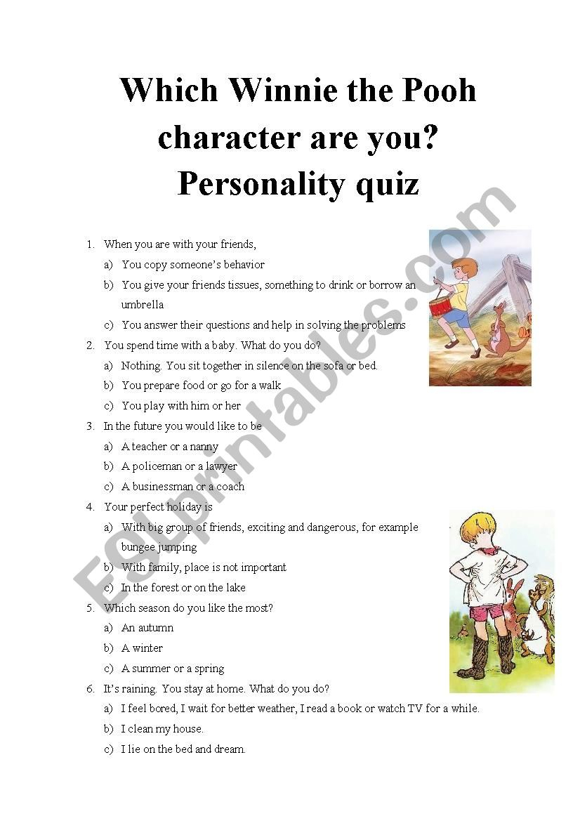 Which Winnie The Pooh Character Are You? Personality Quiz Part 3 | Personality Quiz Printable Worksheet